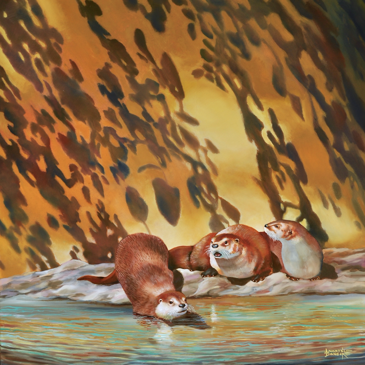 One of Lawrence Danecke's newest paintings 'American River Otters'  (oil on canvas) to be exhibited  at Mason House Gallery.