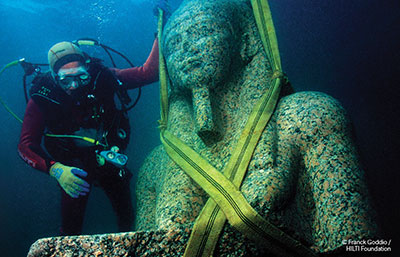 Statue of the Fertility God Hapy, 4th or 3rd century BC. Thonis-Heracleion, red granite, 5.4 m. high.  Maritime Museum Alexandria. Image © Franck Goddio/Hilti Foundation